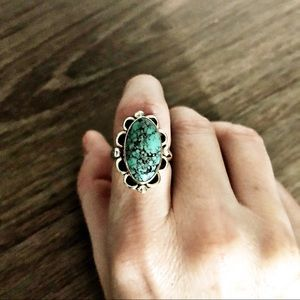 SUNDANCE Navajo Turquoise sterling silver ring.